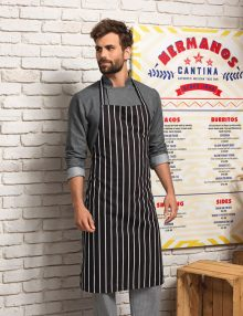 Striped bib apron for men