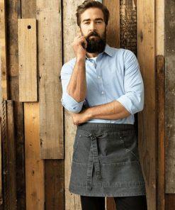 Waiter with Denim Waist Apron and Blue Shirt
