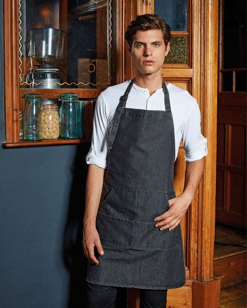 Denim apron with pockets
