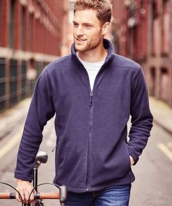 Man wearing navy fleece