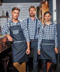 Waiter Wearing Contrast Denim Waist Apron