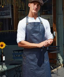 Waxed Look Denim Bib Apron
