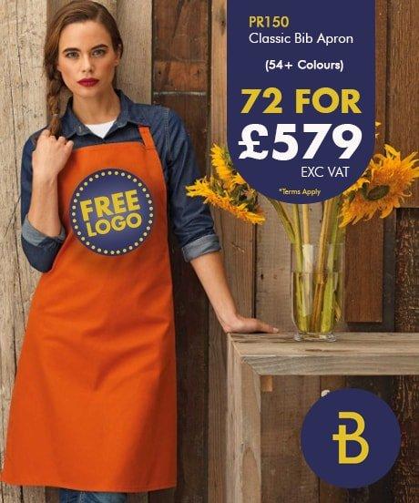 72 Bib Aprons with Free Logo Deal