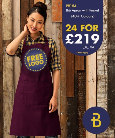 24 Bib Aprons with Pocket with Free Logo Deals