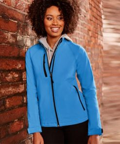 140F Ladies Softshell Jacket by Russell Model Front Azure