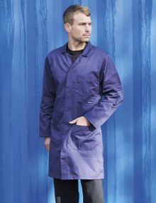 Standard Lab Coat Navy Front Model Portwest