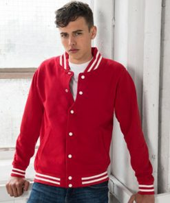 College Jacket Model Front Fire Red