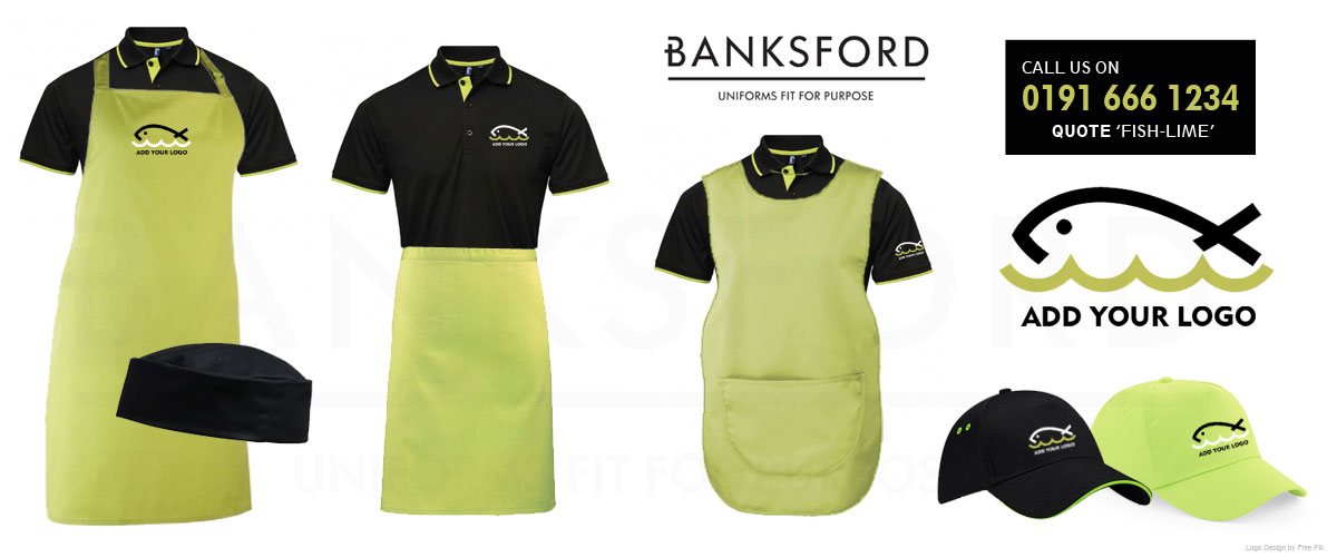 Lime Green and Black Fish Shop Uniforms