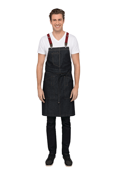 Denim Berkeley Bib Apron in Indigo