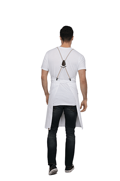 Back view of White Apron