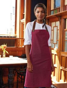 Burgundy Cotton Bib Apron