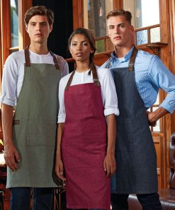 PR144 Waiting Staff in Cotton Bib Aprons with Pockets